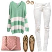 blouse,aqua sweater,ootd,white jeans,white pants,balmain,chanel bag,vintage,leopard print,loose,sweater,polyvore