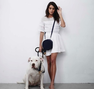 blouse white top mesh top fringed top white white skirt black bag nikki reed