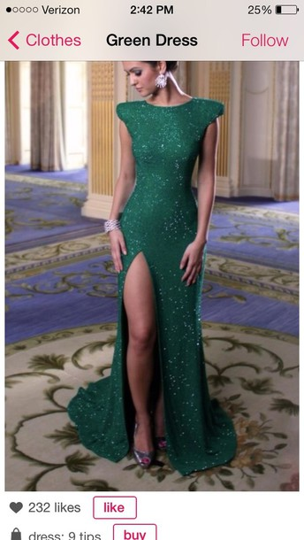 Dress Emerald Green Prom Dress Open Leg Long Prom Dress Glitter