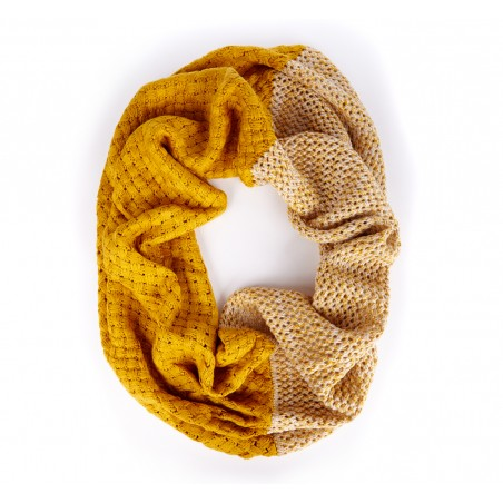 Sole Society - Color Block Knit Infinity Scarf - Mustard