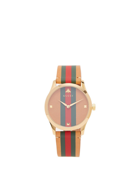 GUCCI G-Timeless Web-striped leather watch in brown