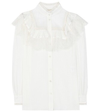 blouse lace cotton silk white top