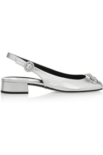 metallic flats silver leather shoes