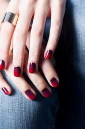 nail polish,ombre,nail art,silver ring,red nails,minimalist jewelry,valentines day