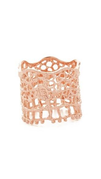 vintage rose gold rose ring lace gold jewels