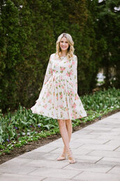 dress,tumblr,midi dress,floral,floral dress,long sleeves,long sleeve dress,sandals,sandal heels,high heel sandals,spring outfits,spring dress,date dress,spring date night outfit