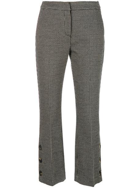 cropped women spandex jacquard cotton black pants