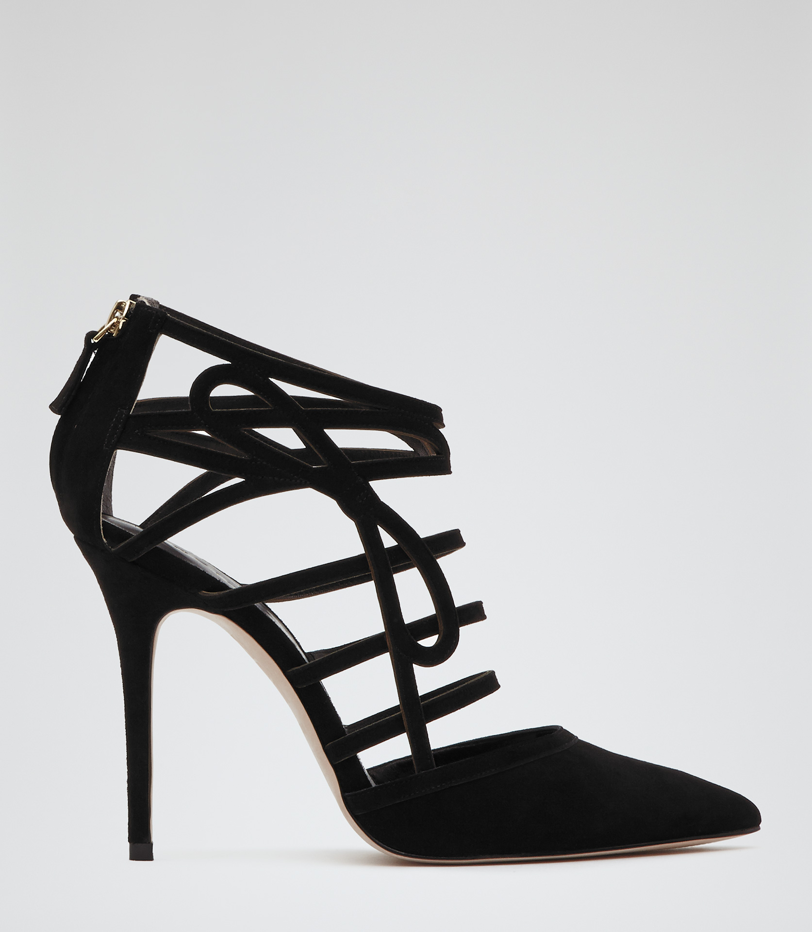Isla Black Suede Lazer Cut Shoes - REISS