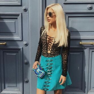 skirt evelinas fashion cafe blue suede skirt blue skirt suede skirt mini skirt top lace up top animal print top leopard top clutch electric blue clutch sunglasses youtuber