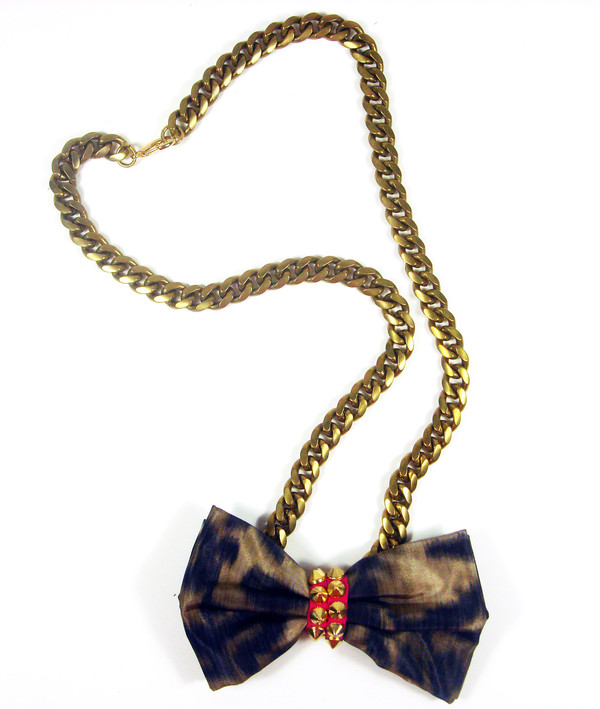 jewels leopard bowtie