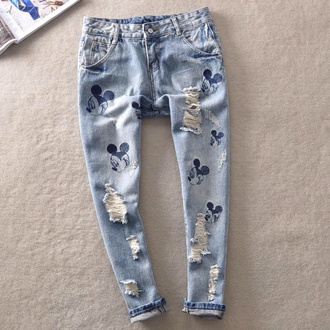 jeans denim mickey disney print mouse donald mickey mouse printed pants skinny pants mom jeans