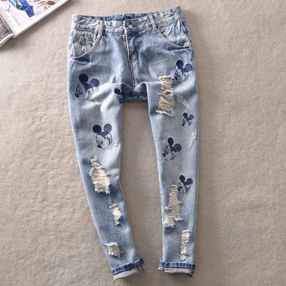 disney mickey mouse jeans denim print mouse donald printed pants skinny pants mom jean cutoffs