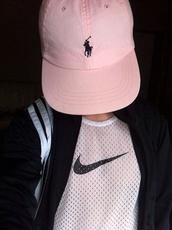 polo ralph lauren homme,ralph lauren femme,pink,hat,snapback,cap,pink cap,urban pastel pink,black sweater,white top,mesh top