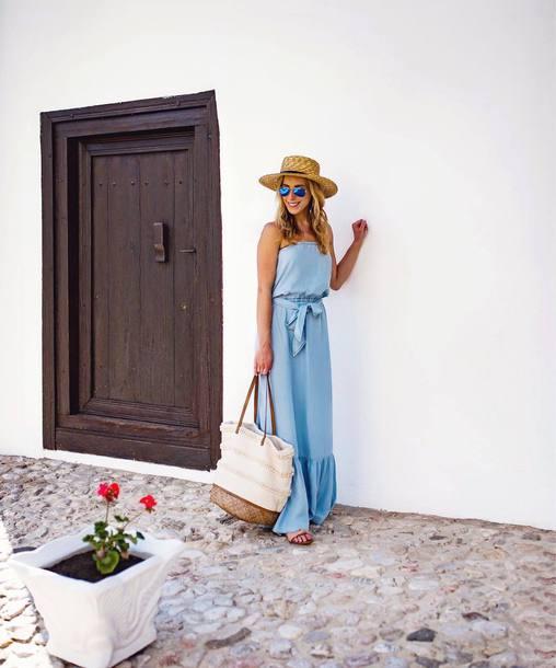 dress hat tumblr blue dress maxi dress long dress shoes flat sandals sandals bag sun hat