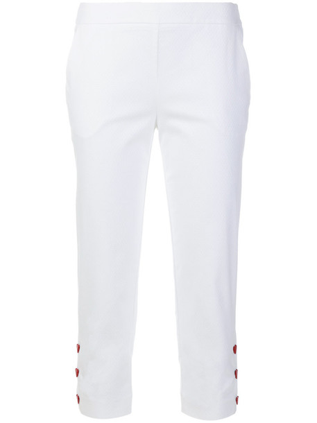 LOVE MOSCHINO cropped women spandex embellished white cotton pants