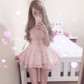 dress cute kawaii japan asian korean fashion lovely pink frilly summer