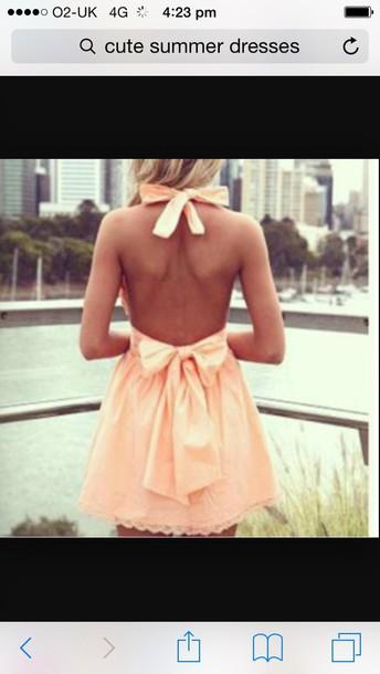 dress peac bows bow summer peach