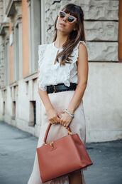 shirt,tumblr,white shirt,sleeveless,sleeveless top,bag,louis vuitton,skirt,pink skirt,asymmetrical,asymmetrical skirt,belt,sunglasses,work outfits,office outfits