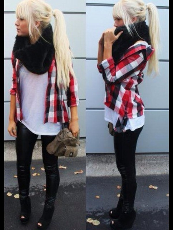 blouse red white black shirt plaid shirt scarf cute where to get this outfit! jacket red flannel flannel flannel shirt white shirt black scarf pants top plaid balck girly