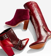 shoes,red,boots,wine burgundy red boots booties,leather,tall,short