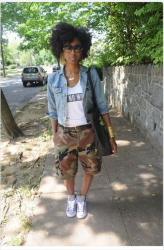 shorts coat jewels shoes t-shirt ain't no wifey cute natural hair glasses pants camo pants camouflage jean jackets dope black girls killin it sneakers light purple camo shorts trill baddies