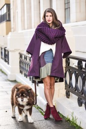 thank fifi,blogger,skirt,shoes,purple,knitted scarf,sweater,coat