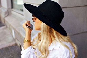 hat blouse black hat blondine sunglasses iphone 5s tattoo