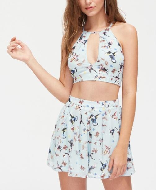 dress girly two-piece crop tops crop skirt floral summer