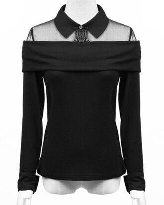 blouse black sheer goth elegant