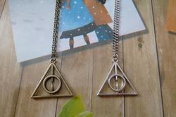 Online Shop Harry Potter Luna Lovegood Deathly Hallows Triangle Pendant Necklace|Aliexpress Mobile