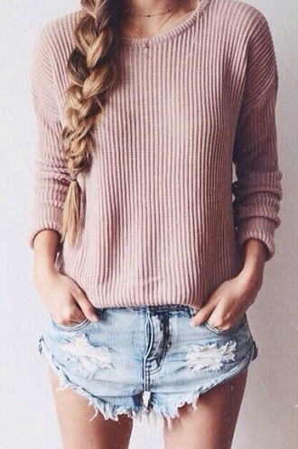 sweater knitted sweater denim shorts denim shorts necklace pink knit jeans braid