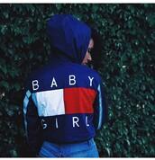 coat,jacket,windbreaker,blue,baby girl,tommy hilfiger jacket,sweater,looks like tommy hilfiger,baby girl windbreaker,tumblr,vintage,cropped jacket,summer,tommy hilfiger