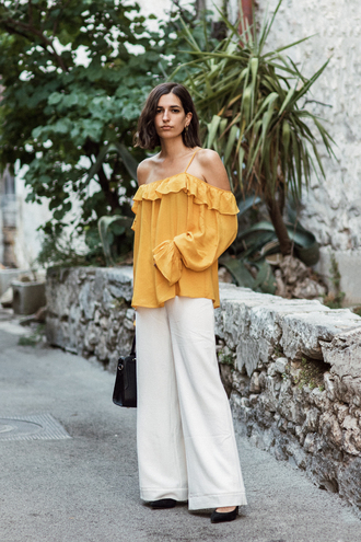 top tumblr yellow yellow top off the shoulder off the shoulder top pants wide-leg pants white pants shoes
