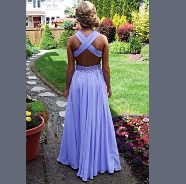 dress purple prom dress with crossback