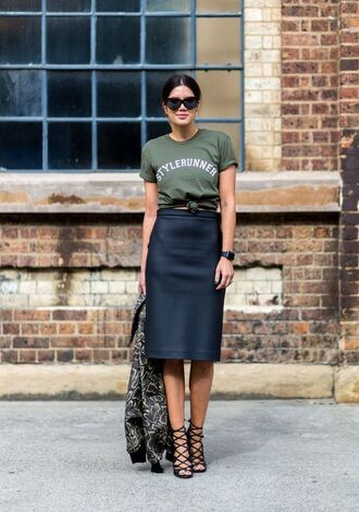 t-shirt graphic tee pencil skirt black skirt midi skirt khaki army green tie-front top high waisted skirt black watch strappy sandals office outfits bomber jacket printed jacket