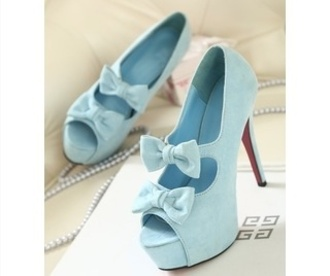 shoes high heel pumps lovely tiffany blue heels bow heels light blue heels annemerel blogger