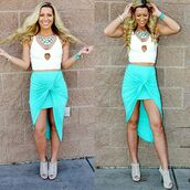 skirt,clk fashions boutique,teal,crop tops,jewels,gorgeous,girly,spring,california,miami,summertime,beautiful,fashion,style,heels,swag