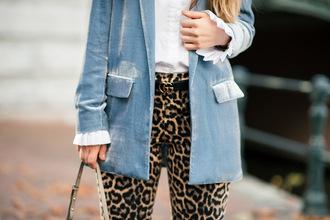 kelpas diary blogger pants jacket blouse bag belt shoes leopard print blazer blue jacket gucci