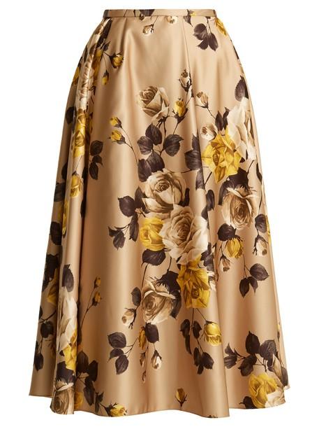 Rochas skirt midi skirt rose midi print satin beige