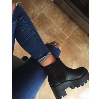 shoes breshka jeans ripped jeans black heels heels blue jeans chanel