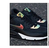 shoes,nike,air max,black,shiny,metallic,rainbow,colorful,tumblr,tumblr nike,nike shoes,nike air max 90,rainbow like,iridescent,sneakers
