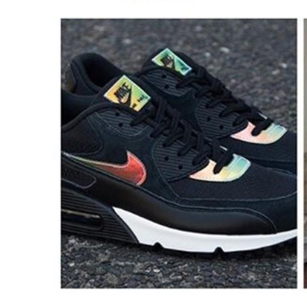 shoes, nike, air max, black, shiny