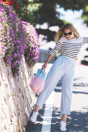 my blonde gal,blogger,bag,jewels,shoes,sunglasses,striped top,long sleeves,stripes,beach bag,high waisted,blue pants,wide-leg pants,adidas,white sneakers