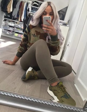 sweater camouflage adidas shirt printed sweater pullover green dark dope cute fashion toast fashion vibe fashion is a playground fashion coolture fashion shoes sports shoes military style top khaki sweatshirt