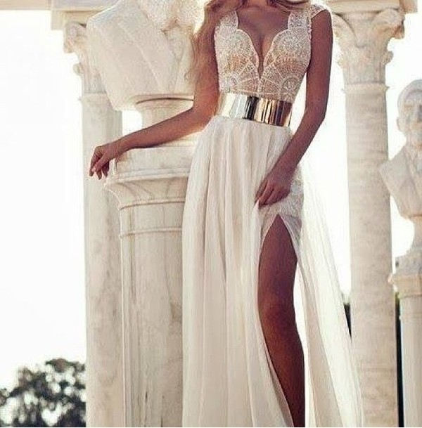 dress dress white lace dress white gold white dress nude prom dress prom prom gown