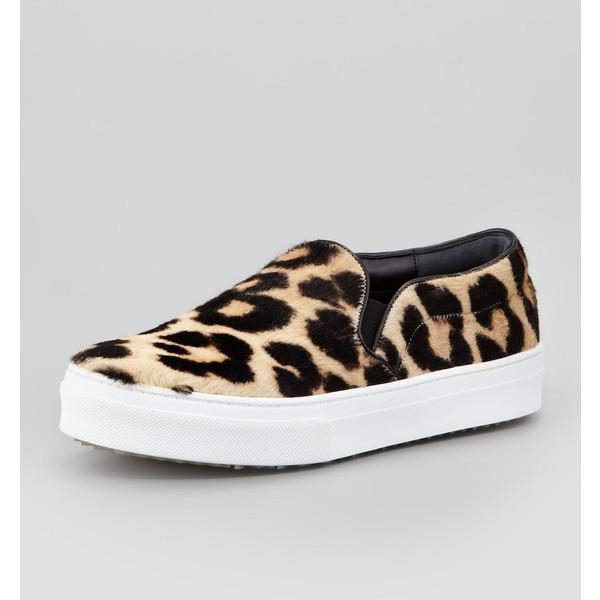 Celine Leopard-Print Calf Hair Slip-On Sneaker - CÉLINE - Polyvore