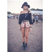 black hat,shorts,mini shorts,black top,off the shoulder,long sleeves,choker necklace,round sunglasses,boots,shoulder bag,blouse,boho,crop tops,belt,top,festival,coachella,sunglasses,summer shorts,summer top,style,fashion,shoes,hat,mesh,grunge,printed shorts,red,white,pattern,black blouse,off the shoulder top,bardot top,jewels,jewelry,necklace,black choker,layered,music festival,boho jewelry,bohemian,High waisted shorts,high waisted,festival clothes,festival looks,boho chic,shirt,festival outfit,festivals,pants,coachella outfit,coachella shorts,festival shorts,date outfit