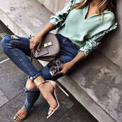 jeans,mint top,tumblr,blue jeans,skinny jeans,ripped jeans,bag,sandals,sandal heels,high heel sandals,top,mint,shoes