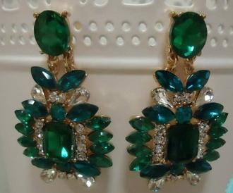 jewels earrings jewelry black dress vintage retro green stone earrings crystal earrings