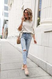 top,stripes top,jeans,denim,shoes,bag,sunglasses